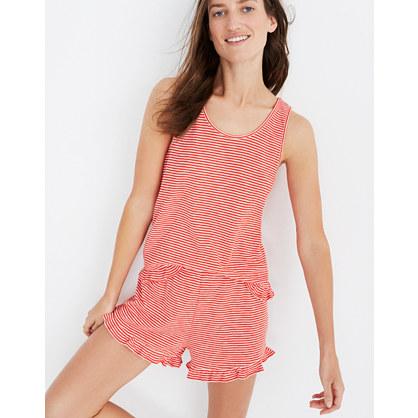 Ruffle-Hem Pajama Shorts in Stripe