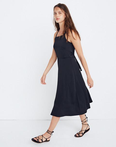 Cross-Back Midi Dress in true black image 2