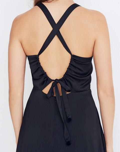 Cross-Back Midi Dress in true black image 3