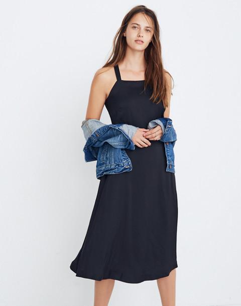 Cross-Back Midi Dress in true black image 1