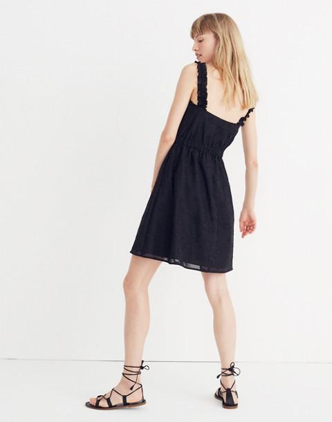 Jacquard Frill-Strap Mini Dress in true black image 3