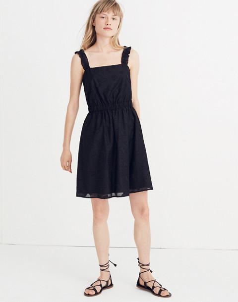 Jacquard Frill-Strap Mini Dress in true black image 1