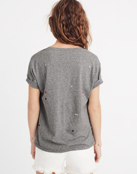 Embroidered U-Neck Tee