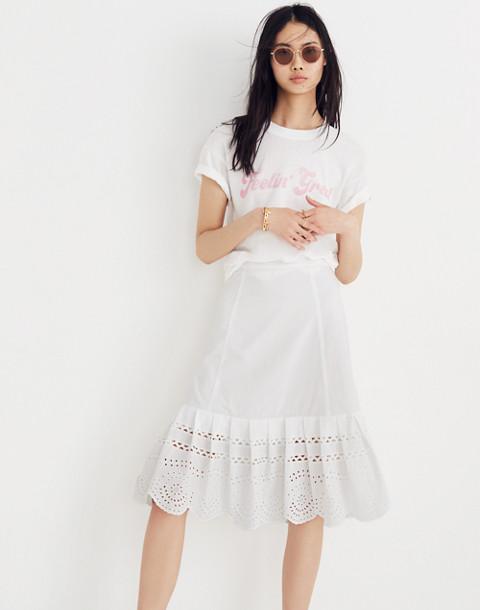 Eyelet Midi Skirt in eyelet white image 2