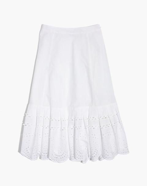 Eyelet Midi Skirt in eyelet white image 4