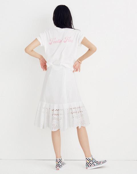 Eyelet Midi Skirt in eyelet white image 1