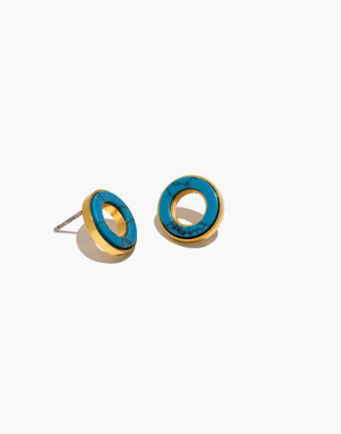 Desert Sunset Circle Stud Earrings in vintage gold image 1