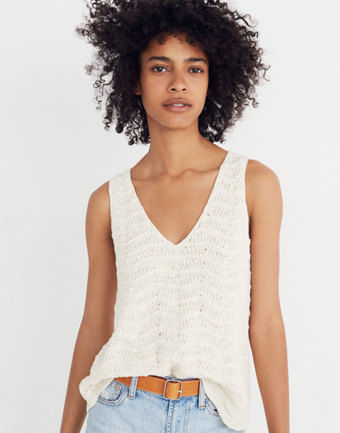 Crocheted Sweater Tank in vintage eggshell image 1