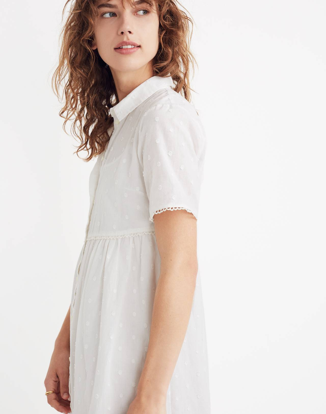 Clipdot Midi Shirtdress in eyelet white image 2