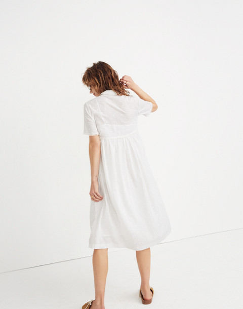 Clipdot Midi Shirtdress in eyelet white image 3