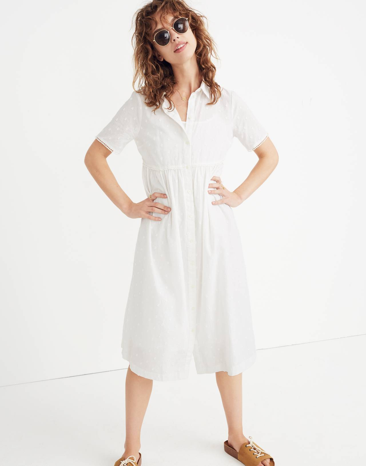 Clipdot Midi Shirtdress in eyelet white image 1