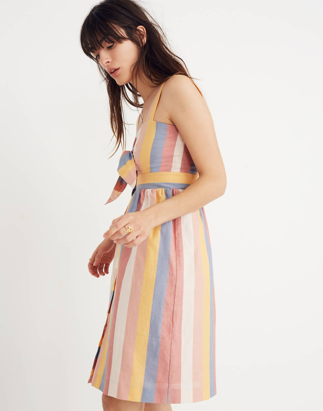 Tie-Front Cutout Dress in Sherbet Stripe in antique coral image 2