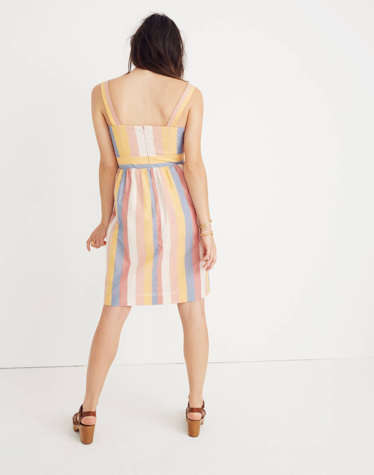 Tie-Front Cutout Dress in Sherbet Stripe in antique coral image 3