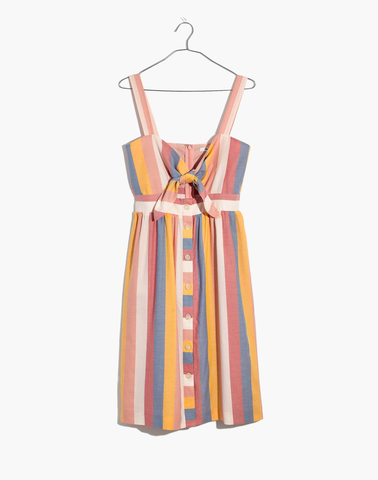 Tie-Front Cutout Dress in Sherbet Stripe in antique coral image 4