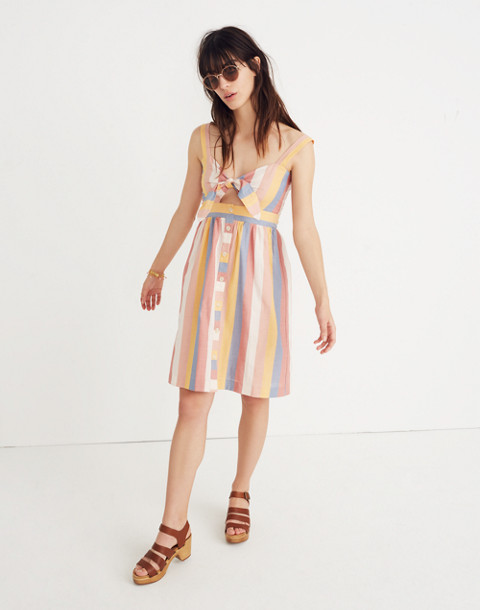 Tie-Front Cutout Dress in Sherbet Stripe in antique coral image 1