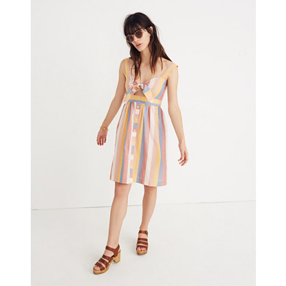 Tie Front Cutout Dress In Sherbet Stripe by Madewell