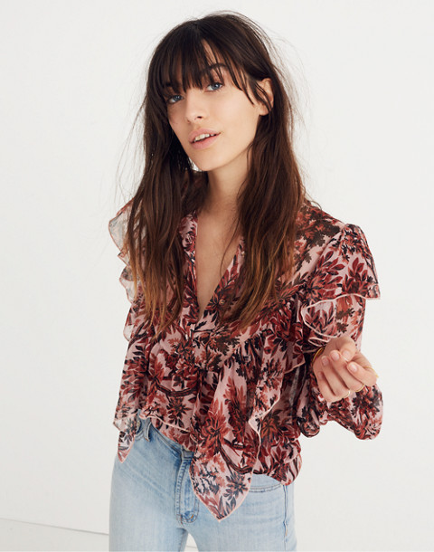 Karen Walker® Silk Eugene Ruffle Top in red multi image 2