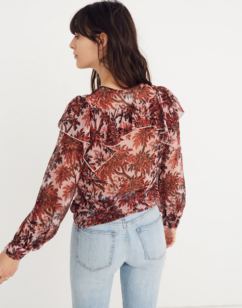 Karen Walker® Silk Eugene Ruffle Top in red multi image 3