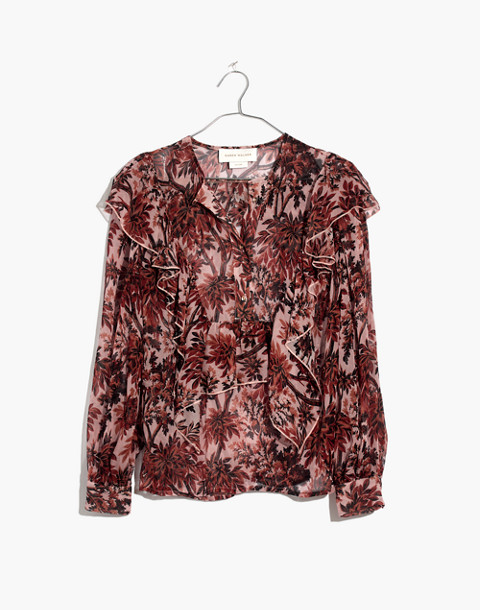 Karen Walker® Silk Eugene Ruffle Top in red multi image 4