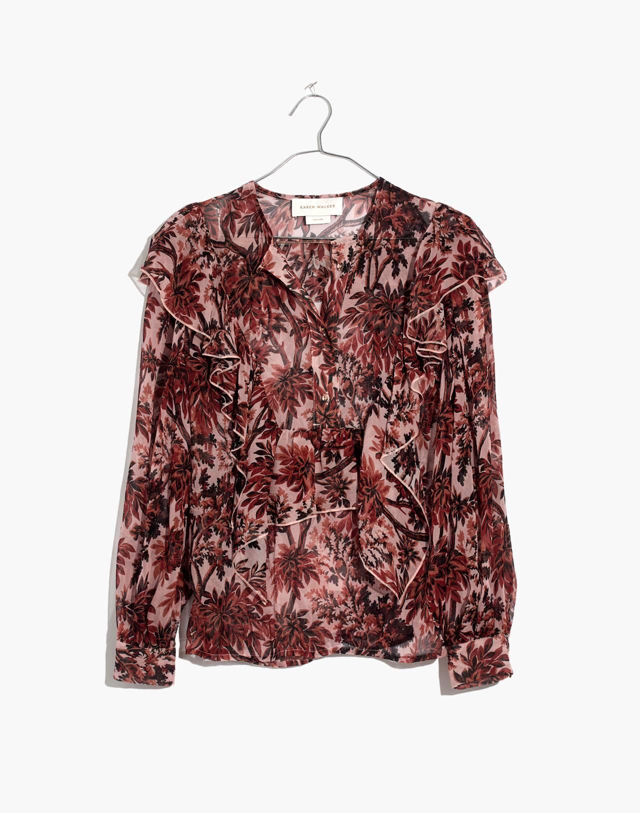 Karen Walker® Silk Eugene Ruffle Top in red multi image 4