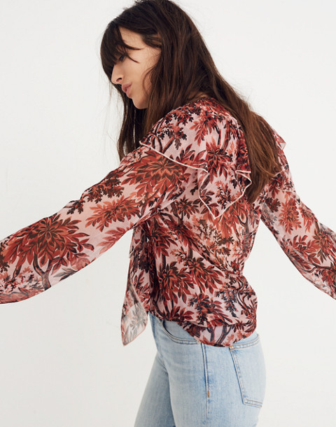 Karen Walker® Silk Eugene Ruffle Top in red multi image 1