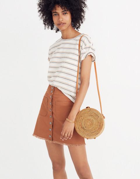 High-Waist Snap Skirt in burnt sienna image 1