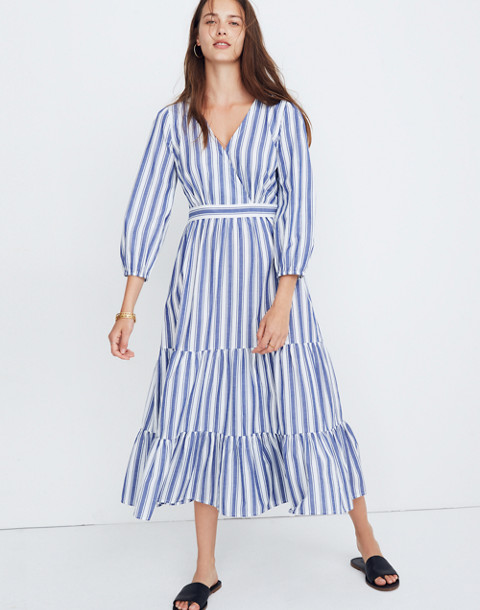 Ruffle-Sleeve Tiered Dress in Ava Stripe in oxford blue image 2
