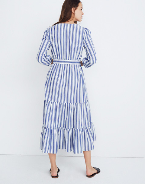 Ruffle-Sleeve Tiered Dress in Ava Stripe in oxford blue image 3