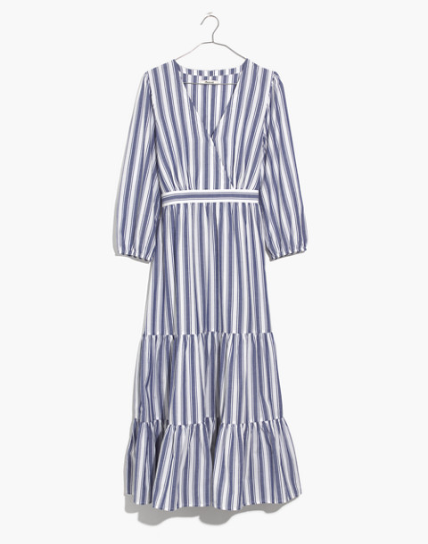 Ruffle-Sleeve Tiered Dress in Ava Stripe in oxford blue image 4