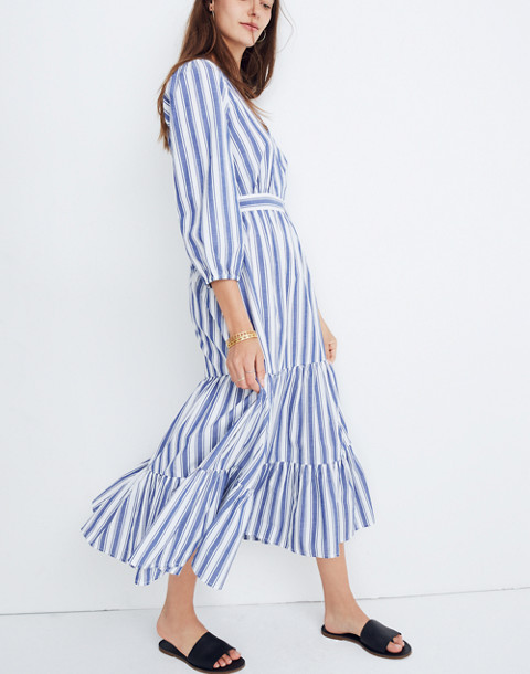 Ruffle-Sleeve Tiered Dress in Ava Stripe in oxford blue image 1