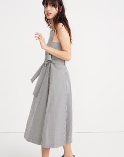 Apron Tie-Waist Dress in Stripe