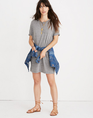 Oversized Tee Dress in hthr grey image 1