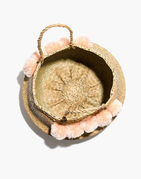 Xinh & Co. Large Pom-Pom Basket Tote in natural image 3