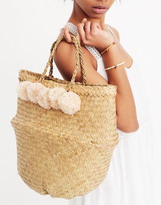 Xinh & Co. Large Pom-Pom Basket Tote in natural image 2