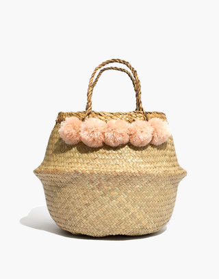 50cfa0448c Large Pom-Pom Basket Tote in natural ...