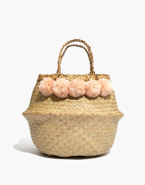 Xinh & Co. Large Pom-Pom Basket Tote in natural image 1