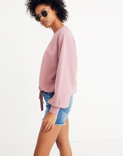 Bubble-Sleeve Drawstring Sweatshirt