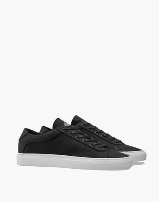 Unisex Koio Capri Nero Low-Top Sneakers in Black Canvas in black image 1