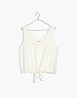 Texture & Thread Tie-Front Tank Top in white wash image 4