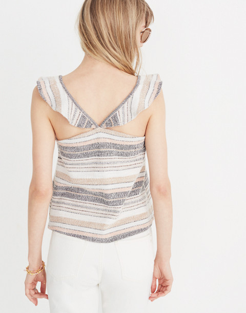 Texture & Thread Ruffle-Strap Tank Top in Stripe in hthr toffee image 3
