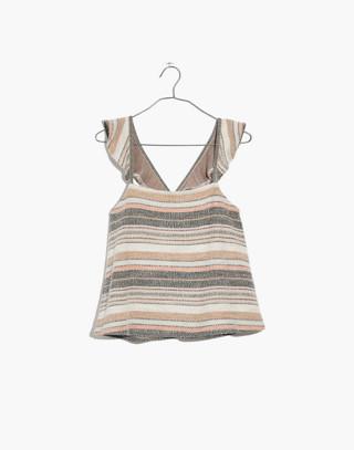 Texture & Thread Ruffle-Strap Tank Top in Stripe