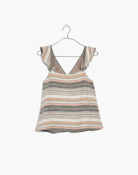 Texture & Thread Ruffle-Strap Tank Top in Stripe in hthr toffee image 4