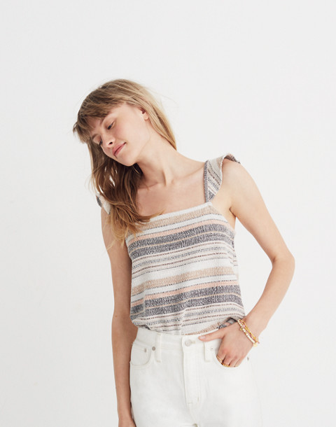 Texture & Thread Ruffle-Strap Tank Top in Stripe in hthr toffee image 1