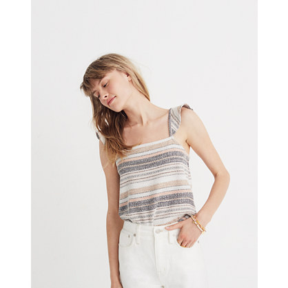 Texture & Thread Ruffle Strap Tank Top In Stripe by Madewell