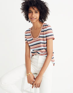 Alto Scoop Tee in Colborne Stripe