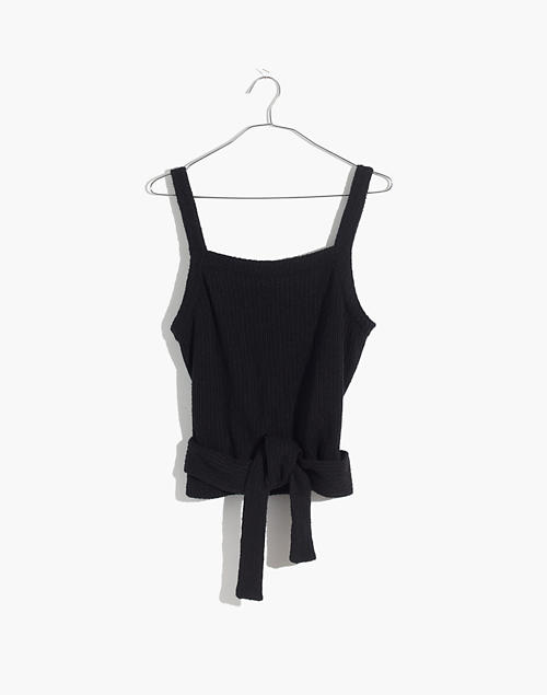 93e18eb3bf6173 Texture  amp  Thread Tie-Wrap Tank Top in true black ...