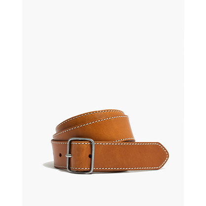 Leather Contrast-Stitched Belt