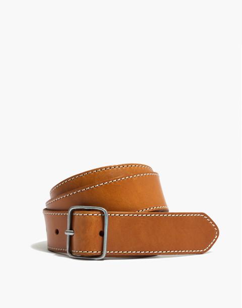 Leather Contrast-Stitched Belt in bronzed leaf image 1