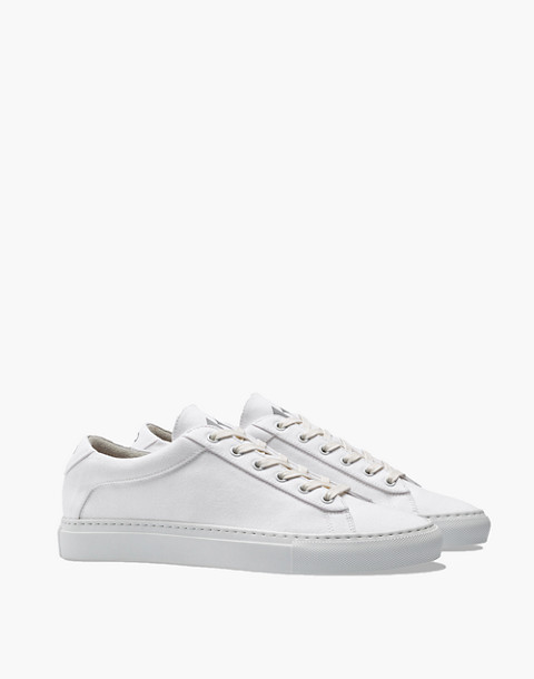 Unisex Koio Capri Bianco Low-Top Sneakers in White Canvas in white image 1