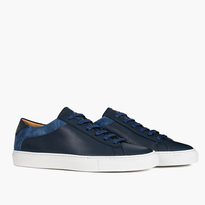 Koio Capri Vento Low-Top Sneakers in Blue Leather
